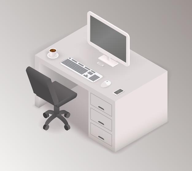 Computador, mesa, local de trabalho, 3d isométrico