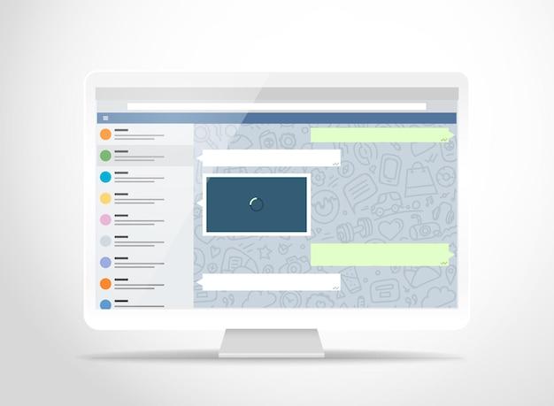 Computador moderno com aplicativo de mensagens na tela. maquete fotoreal. modelo para um conteúdo