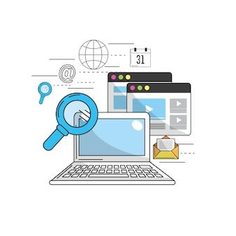 Computador para marketing ícones de negócios e tecnologia