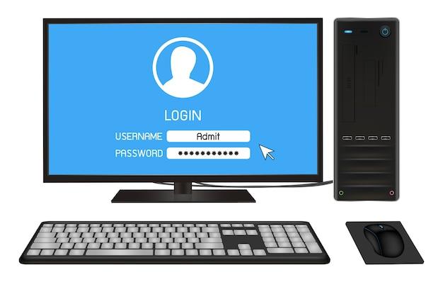 Computador pessoal de mesa com tela de login