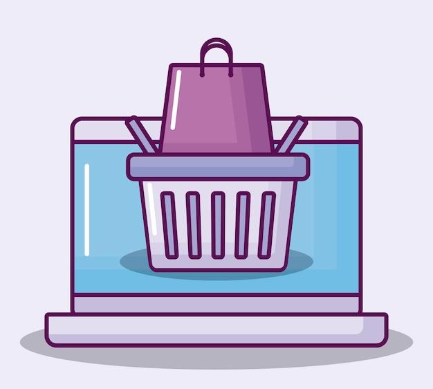Computador portátil, com, cesta shopping
