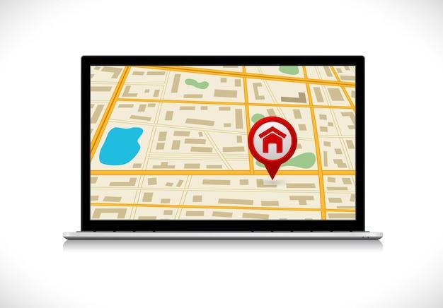 Computador portátil com ícone de mapa e pino