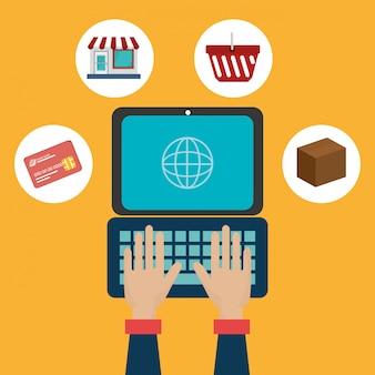 Computador portátil com ícones de comércio eletrônico