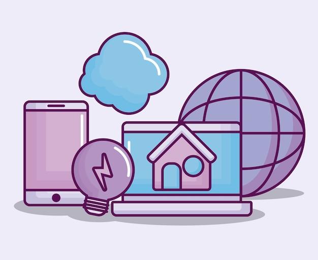 Computador portátil com ícones de negócios eletrônicos