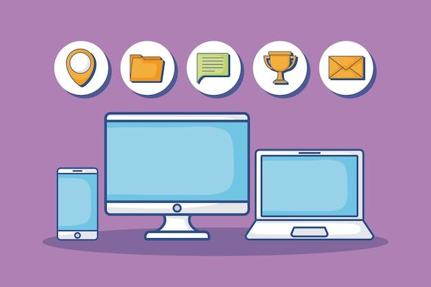 Computador portátil com ícones relacionados com marketing digital em torno de