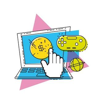 Computador portátil com o conceito on-line de compras