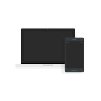 Computador portátil e celular exibe vista frontal