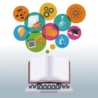 Computador portátil e display livro aberto com ícones de bolhas conhecimento acadêmico