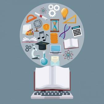 Computador portátil e display livro aberto com ícones de fronteira circular, conhecimento acadêmico