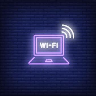 Computador portátil e texto de néon de wi-fi