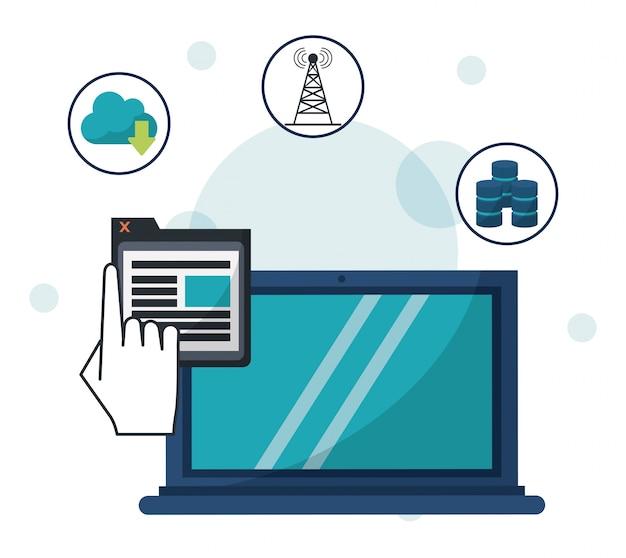 Computador portátil em closeup com aplicativo de janela e ícones de rede