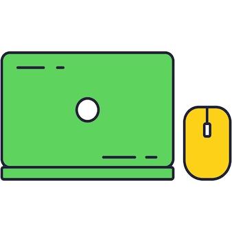 Computador portátil fechado e vetor de ícone de mouse