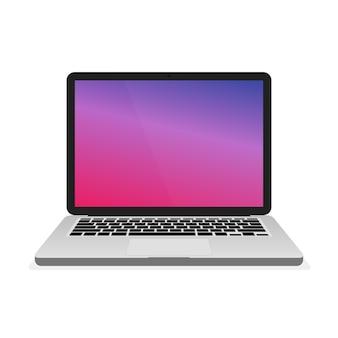 Computador portátil portátil em fundo gradiente moderno. ilustração vetorial.