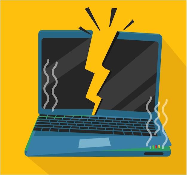 Computador portátil queimado e batido