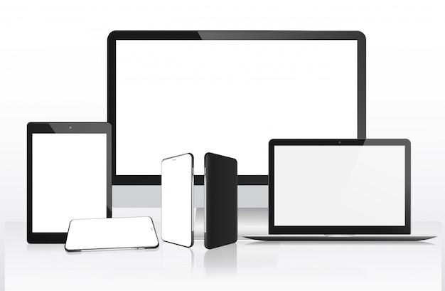 Computador realista, laptop, tablet e celular