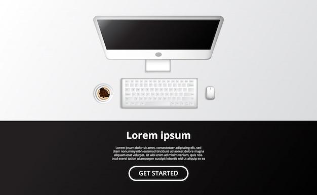 Computador realístico da vista superior tudo em um pc com rato e uma xícara de café.