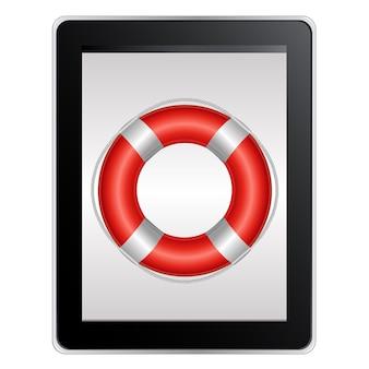 Computador tablet com bóia salva-vidas, isolado no fundo branco,