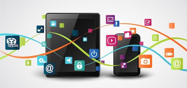 Computador tablet e telefones celulares