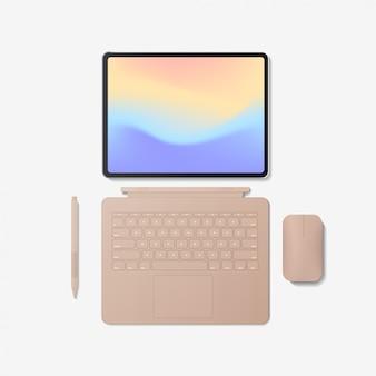 Computador tablet moderno com caneta de mouse de teclado e tela colorida isolada