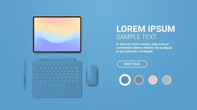Computador tablet moderno com caneta, mouse, teclado e tela colorida