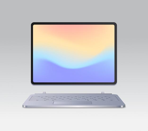 Computador tablet moderno com teclado e tela colorida maquete realista de dispositivos e ilustração vetorial de conceito de dispositivos