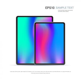 Computador tablet moderno com tela colorida isolada em dispositivos e maquetes de maquete realista de parede branca