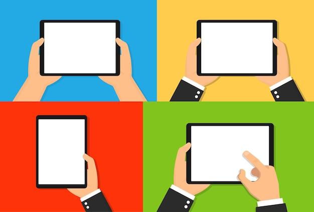Computador tablet nas mãos. ilustração