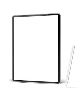 Computador tablet realista com caneta branca para arte digital e desenho.
