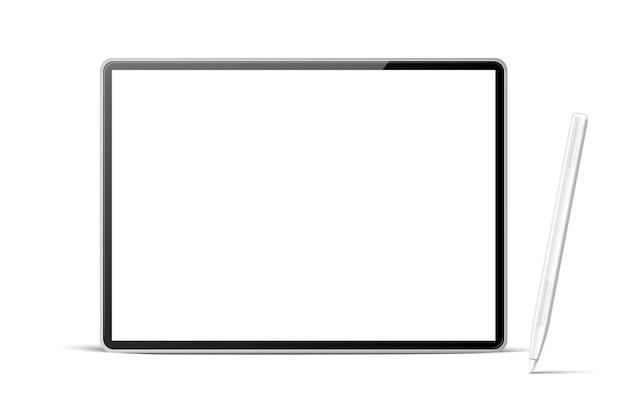 Computador tablet realista com caneta branca
