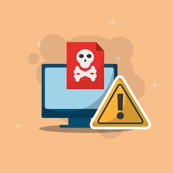 Computador tecnologia perigo spam vírus cyber segurança