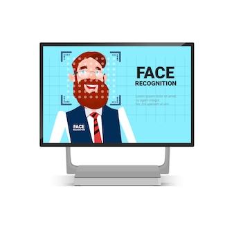 Computador, varredura, homem usuário, rosto, identificação, tecnologia, controle acesso, sistema, biometrical, reconhecimento, conceito