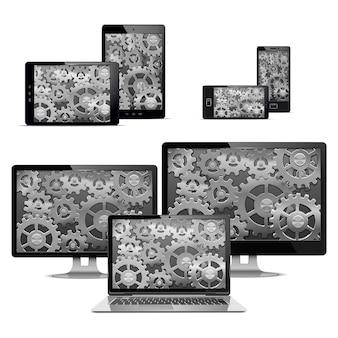 Computadores com engrenagens isoladas em branco