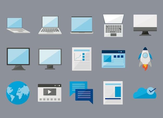 Computadores e laptops com conjunto de ícones digitais