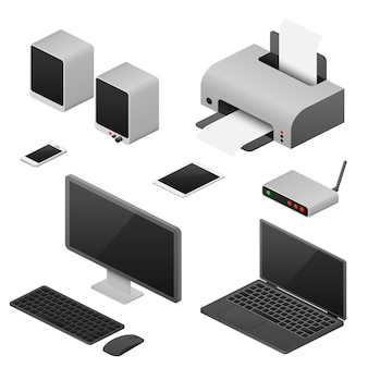 Computadores isométricos da estação de trabalho digital, fontes do espaço de trabalho do escritório