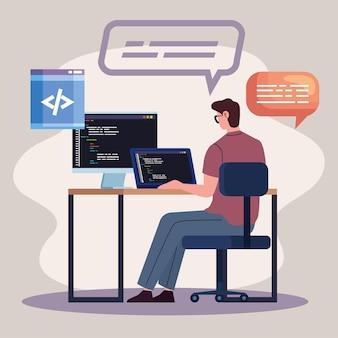 Computadores programadores no local de trabalho
