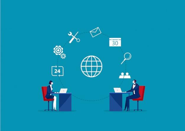 Comunicação com o cliente do operador comercial, especialistas resolvem problemas on-line de clientes