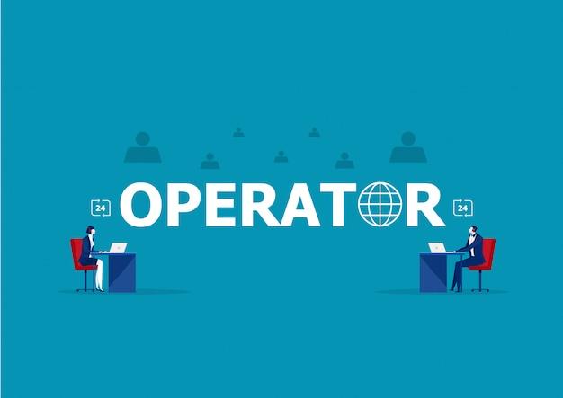 Comunicação com o cliente do operador de negócios, especialistas resolvem ilustração on-line de problemas de clientes