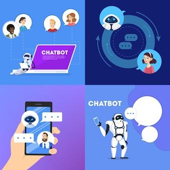 Comunicação com um conceito de chatbot. atendimento ao cliente