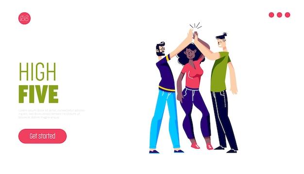 Comunicação de amigos, ajuda e página de destino de apoio com pessoas dando mais cinco.