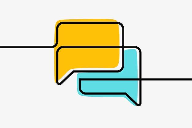 Comunicação de caixa de bate-papo arte em linha contínua on-line