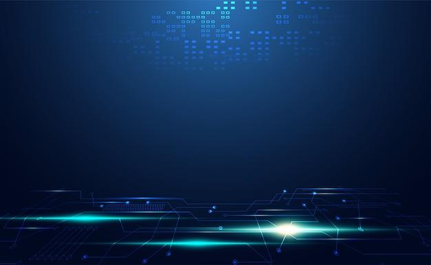Comunicação de circuito digital de tecnologia moderna em azul