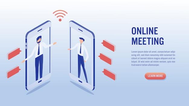 Comunicação de dois homens usando a vídeo chamada do smartphone. conceito de reunião on-line.