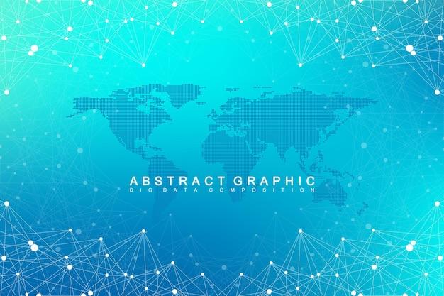 Comunicação de fundo gráfico geométrico com mapa-múndi. complexo de big data com compostos. cenário de perspectiva. matriz mínima. visualização de dados digitais. ilustração científica do vetor cibernético.