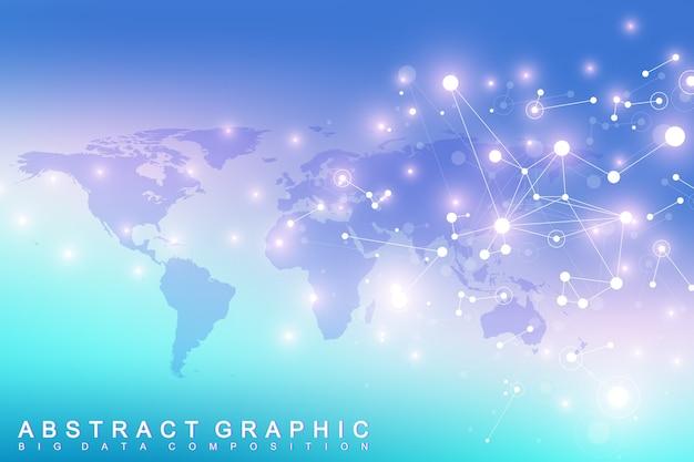 Comunicação de fundo gráfico geométrico. complexo de big data com compostos.visualização de dados digitais.
