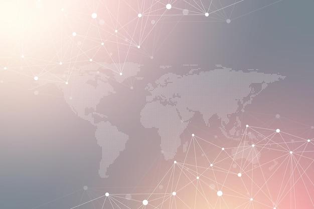 Comunicação de fundo gráfico geométrico. complexo de big data com mapa do mundo político. compostos de partículas. conexão de rede, plexo de linhas. design caótico minimalista, ilustração vetorial.