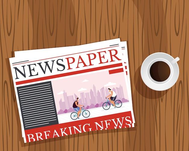 Comunicação de jornal de notícias e xícara de café em fundo de madeira