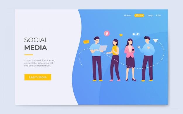 Comunicação de mídia social de estilo plano moderno lading página ilustração