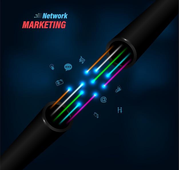Comunicação de negócios de conexão de fibra óptica.