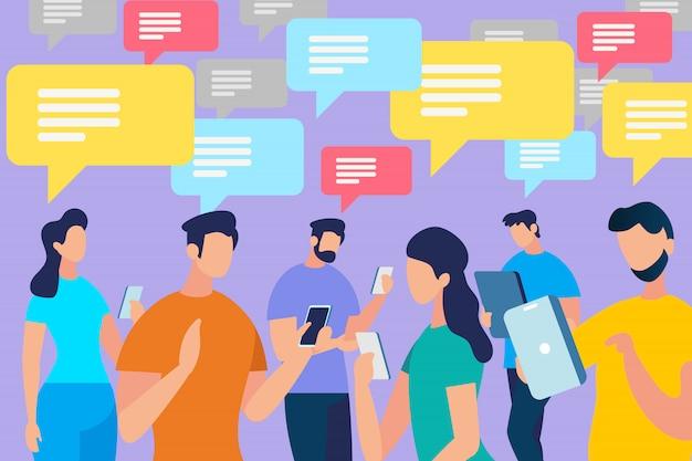 Comunicação de pessoas com bolhas do discurso
