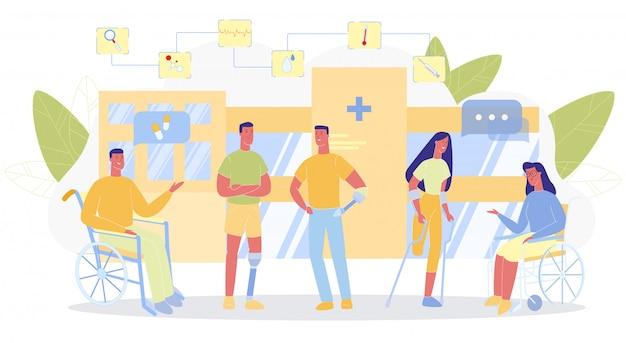 Comunicação de pessoas com deficiências do edifício hospitalar